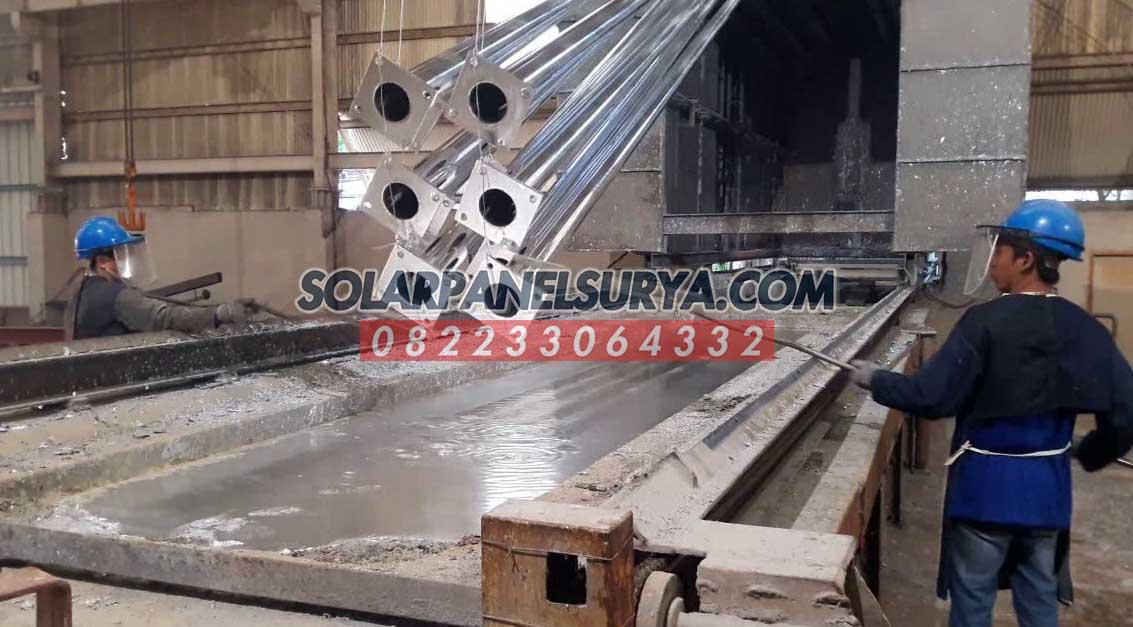 pabrikasi tiang pju galvanis bulat 7 meter