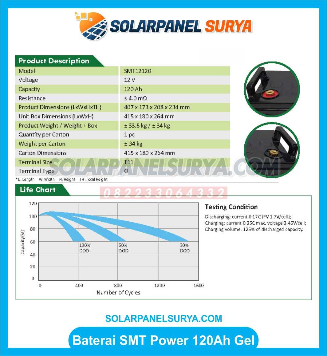 Baterai VRLA smt power 12v 120Ah gel samoto