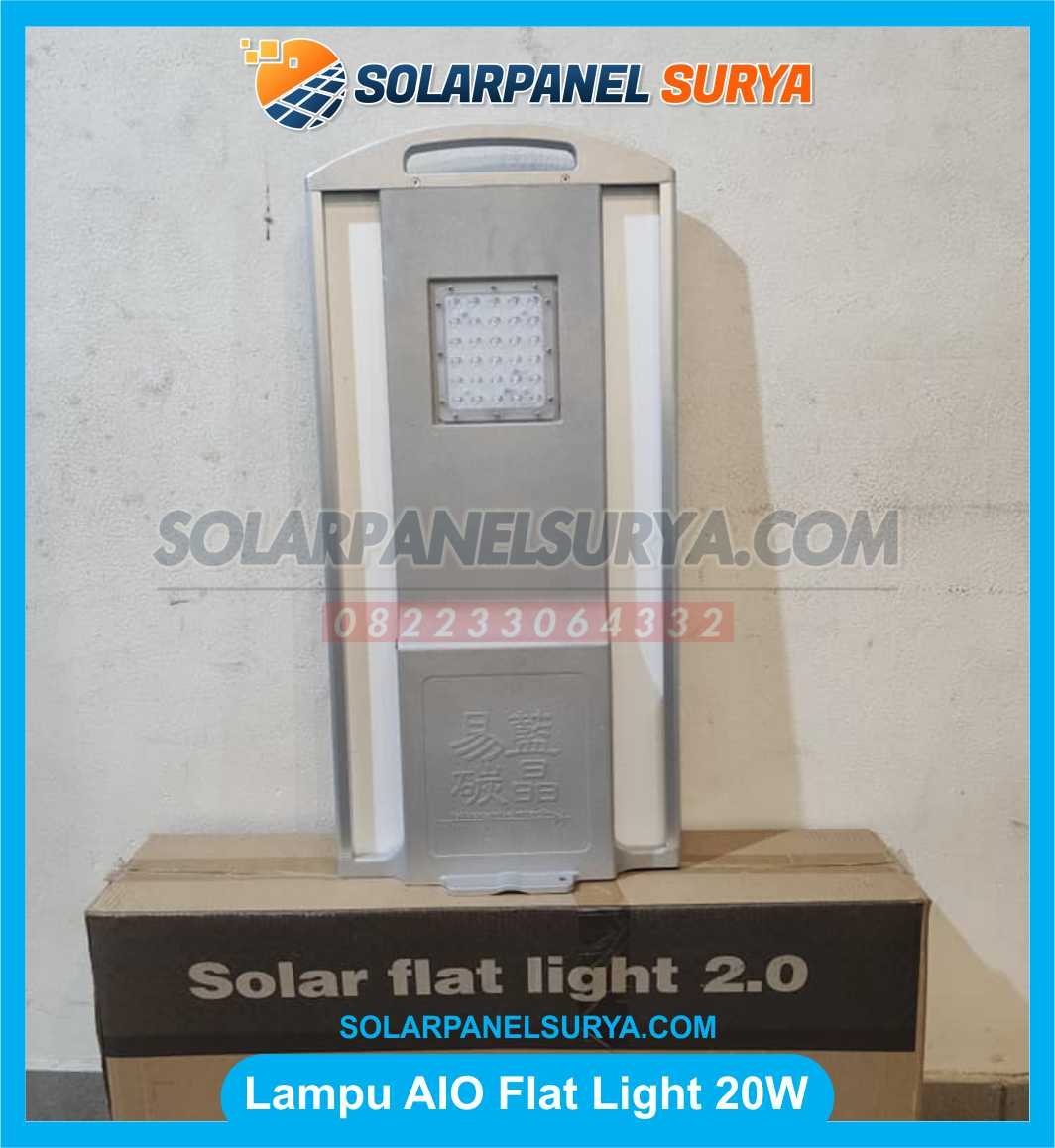 lampu solar cell all in one 20 watt flat light