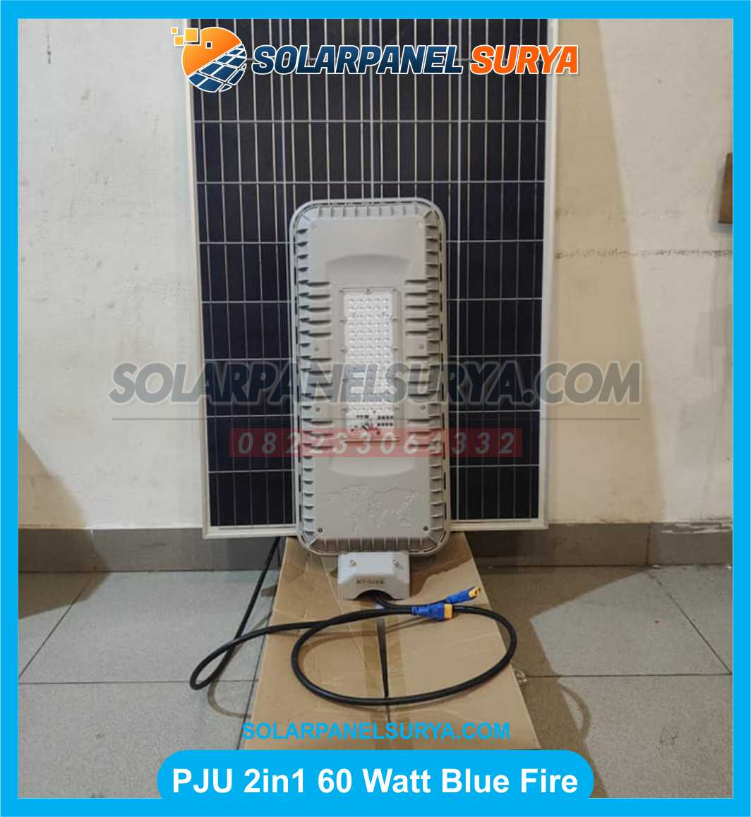 lampu pju solar cell two in one 60 watt blue fire light